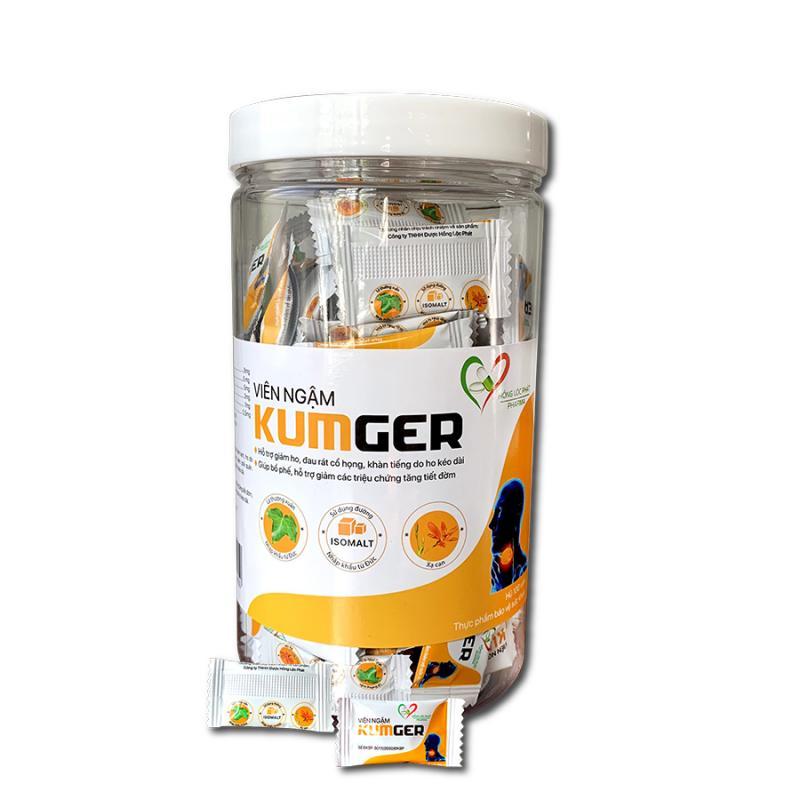 Kẹo ngậm ho Kumger (Hũ 100 viên) - hỗ trợ bổ phế, giảm ho, giảm đau họng